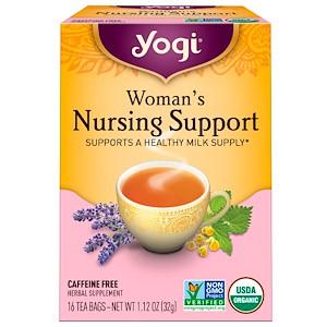 Yogi Tea, Organic, помощь кормящим женщинам, без кофеина, 16 чайных пакетиков, 1.12 унции (32 г)