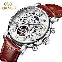 KINYUED Мужские Швейцарские Часы со скелетом Механические часы С автоподзаводом (silver)