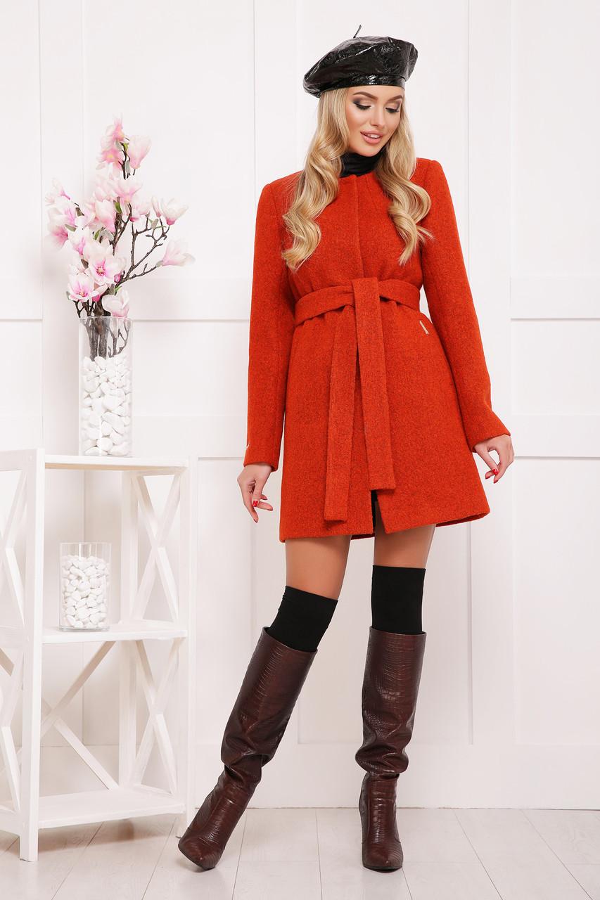 Шерстяное пальто оранжевого цвета