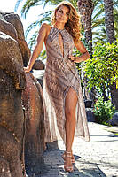 Длинное в пол пляжное платье с разрезом Amarea 18092 42(S) Серый Amarea 18092