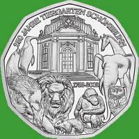 Австрия 5 евро 2002 г. 250 лет зоопарку Шёнбрунн , UNC. Серебро