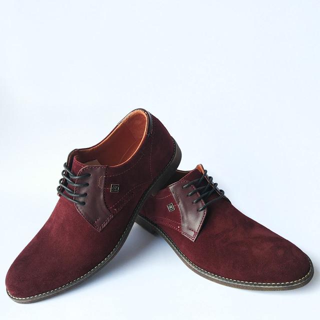 Харьковская slat обувь мужская, замшевая, бордового цвета, на шнуровке