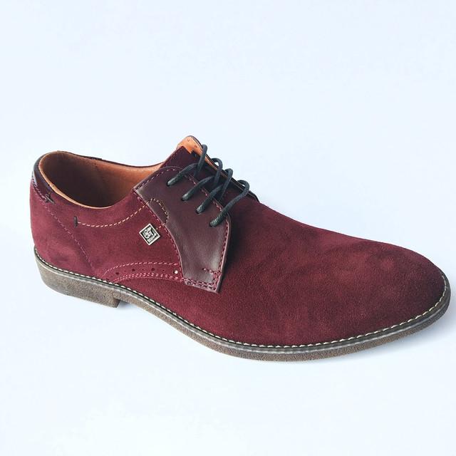 Стильная харьковская slat обувь мужская, замшевая, бордового цвета, на шнуровке