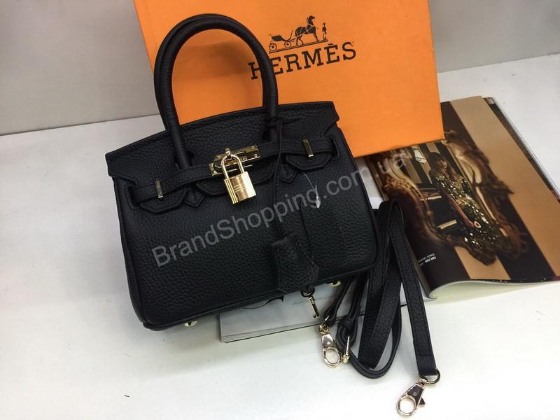 Новинка!Стильная кожаная сумочка Hermes Birkin Lux в черном цвете длина  20см арт 1806 - 1ee6912c87f