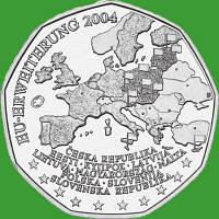 Австрия 5 евро 2004 г. Расширение Евросоюза , UNC. Серебро