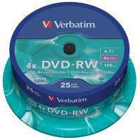 Диск DVD Verbatim 4.7Gb 4x CakeBox 25 шт silver (43639)
