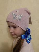 Вязаная шапка с бусинами на девочку, осень 2018 (Anpa, Польша), фото 1