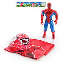 Спайдермен 010 A фигурка супергероя 30см, свет, маска, плащ, в кульке, 31-33-9см