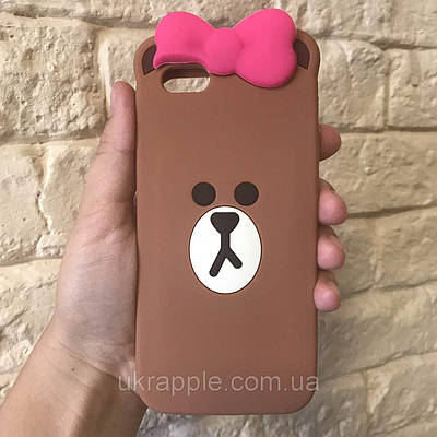 Чехол накладка на iPhone 6/6s медвежонок с бантиком