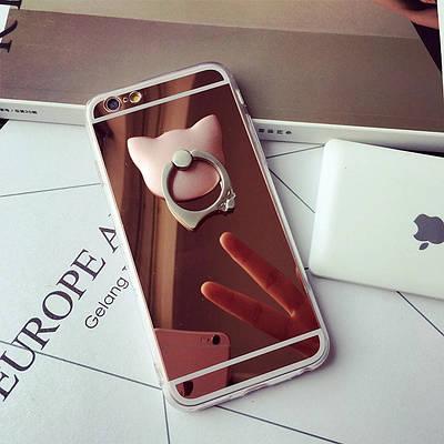 ЧехолнакладканаiPhone6 plus/6splusзеркальныйрозовоезолотоскольцом