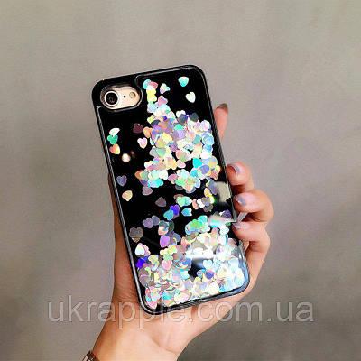 ЧехолнакладканаiPhone6 plus/6sPlusчерныйсплавающимисеребрянымисердечками