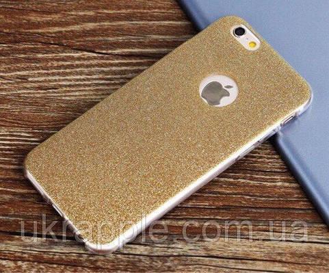 Чехол накладка на iPhone 7/8 силикон, отверстие для яблока, золотой