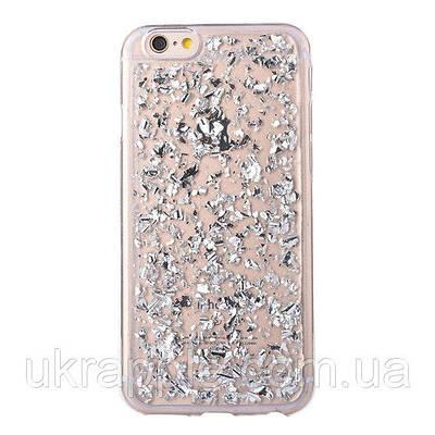 Чехол накладка на iPhone 5/5s/se прозрачный с серебряной фольгой