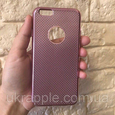 Чехол накладка на iPhone 6/6s плетение, дышащий, розовое золото