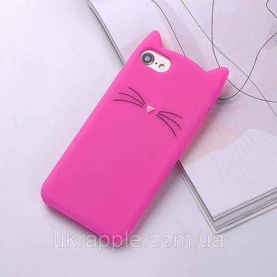 Чехол накладка на iPhone 7/8 ярко-розовый котик
