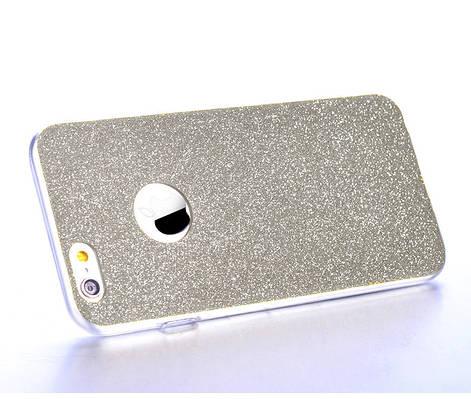 Чехол накладка на iPhone 6/6s силикон, отверстие для яблока, серебро