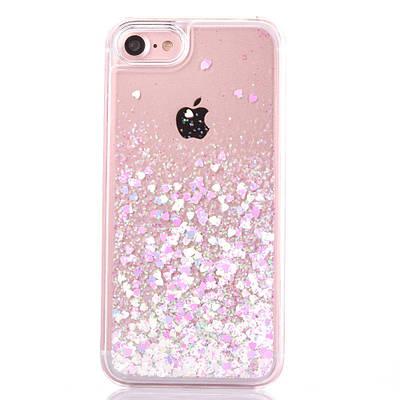 Чехол накладка на iPhone 5/5s/5se прозрачный пластик с плавающими розовыми сердечками