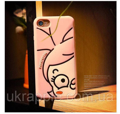 Чехол накладка на iPhone 7/8 розовый с личиком, силикон