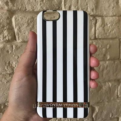 Чехол накладка на iPhone 6/6s в черно-белую полоску, пластик