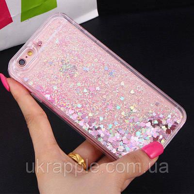 ЧехолнакладканаiPhone6 plus/6sPlusпрозрачныйсплав.розовыми блест.ималенькимисердечками