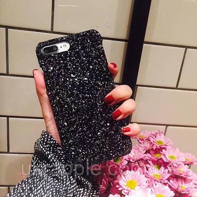 Чехол накладка на iPhone 7/8 черный с пайетками, пластик