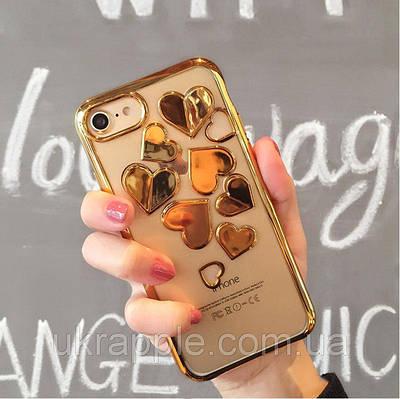 ЧехолнакладканаiPhone6 plus/6splusссердечкамипрозрачный,золотой