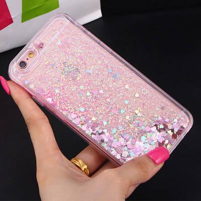 Чехол накладка на iPhone 5/5s/se прозрачный с плавающими розовыми маленькими сердечками