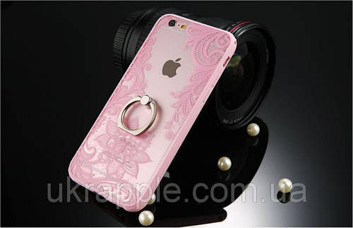 Чехол накладка на iPhone 6/6s розовый ажурный c кольцом