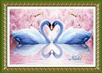 """Картина своими руками - алмазная вышивка """"Лебеди"""""""