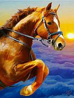 """Картина своими руками - алмазная вышивка """"Лошадь на закате"""""""