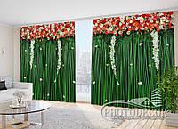 """Фото Шторы в зал """"Красные ламбрекены"""" 2,7м*2,9м (2 полотна по 1,45м), тесьма"""