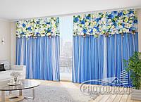 """Фото Шторы в зал """"Голубые ламбрекены"""" 2,7м*2,9м (2 полотна по 1,45м), тесьма"""