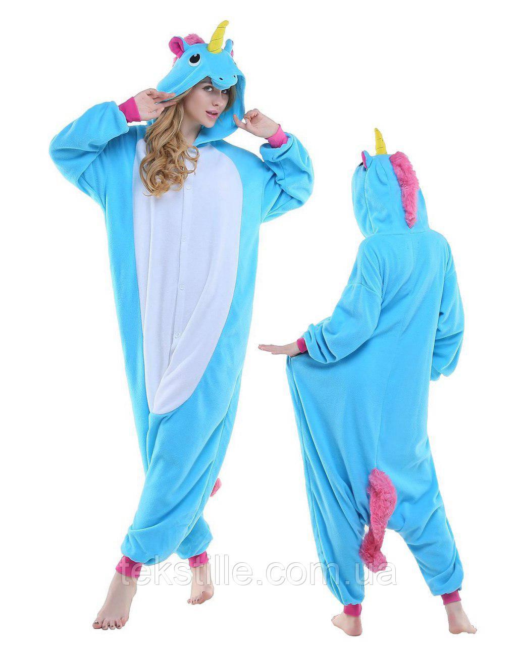 Кигуруми для взрослых Единорог Голубой