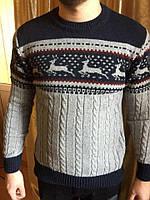 Тонкий шерстяной свитер с оленями производств а Турции