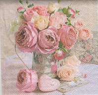 Салфетка для декупажа 25 см Розы Английские Decolover