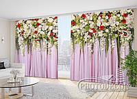"""Фото Шторы в зал """"Ламбрекены. Разноцветные цветы"""" 2,7м*2,9м (2 полотна по 1,45м), тесьма"""