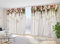 """Фото Шторы в зал """"Ламбрекены из цветков. Белые"""" 2,7м*2,9м (2 полотна по 1,45м), тесьма"""