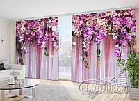 """Фото Шторы в зал """"Розовые ламбрекены"""" 2,7м*2,9м (2 полотна по 1,45м), тесьма"""