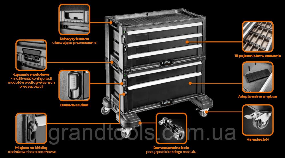 Модульная тележка для инструмента ( 600 x 380 x 600 мм) NEO 84-226