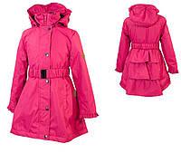 Плащ - пальто р. 116-152 демисезон LEANDRA для девочки 6-12 лет ТМ HUPPA Малиновый 18030004-00063