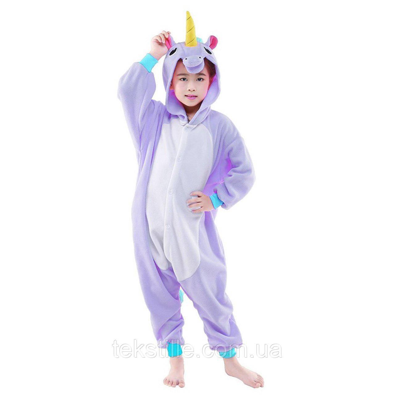 Детская Пижама Кигуруми Единорог фиолетовый 10882