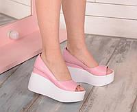 Розовые кожаные туфли на платформе с открытым носиком, фото 1