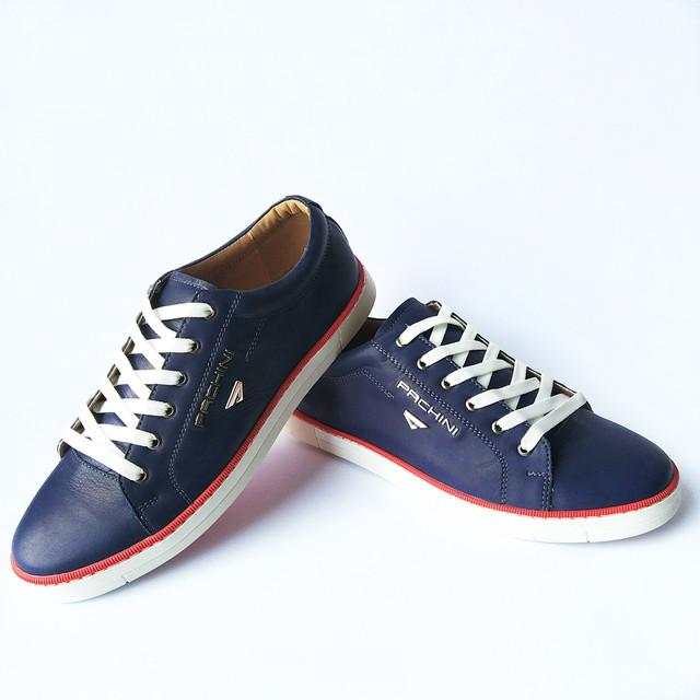Кожаная сarlo pachini обувь: спортивные, мужские кеды, синего цвета