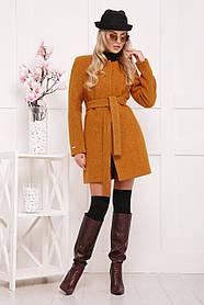 Шерстяное пальто горчичного цвета