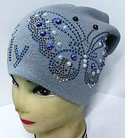 """Детская вязаная шапка, """"Butterfly""""  для девочки,  Da801"""