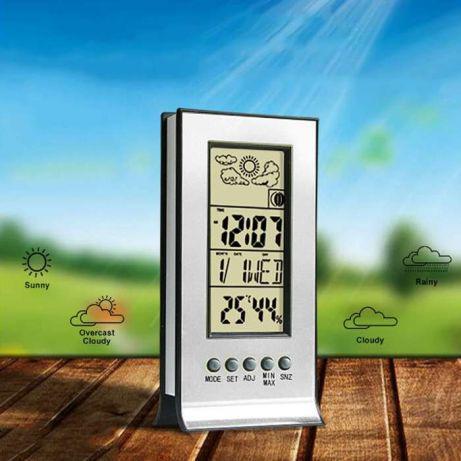 Термометр-гигрометр цифровой с часами и будильником 5 в 1