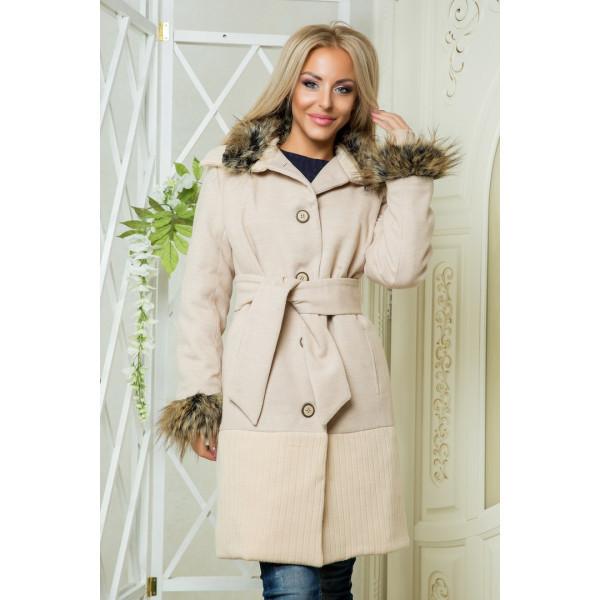 """Женское пальто на синтепоне """"Ольвия"""" беж"""