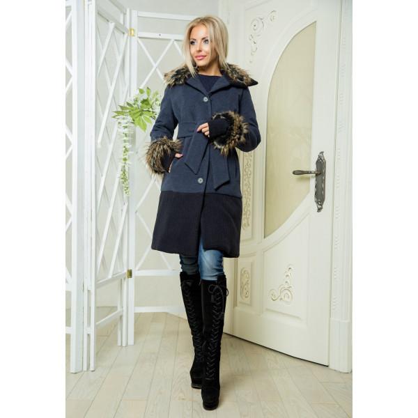 """Женское пальто на синтепоне """"Ольвия"""" серое"""