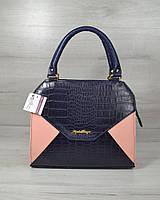 Молодежная каркасная женская сумка Конверт пудра с синем крокодилом из кожзама 31811