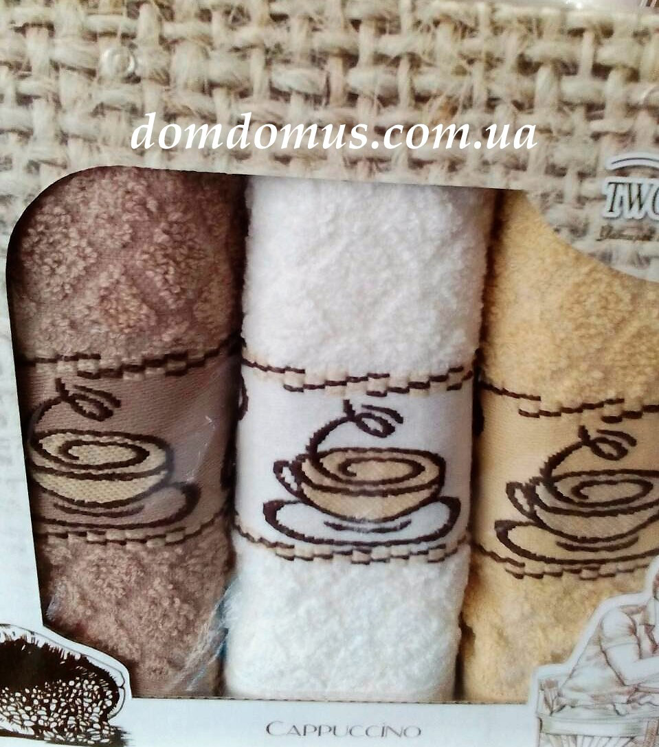 "Набір кухонних рушників махрових ""Cappuccino"" 30*50 см TW DOLPHINS 3 шт., Туреччина 030"